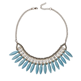 Cyber Women Alloy Pendant Necklace Chocker Resin Rhinestone Party Decor Link Necklace ( Blue ) - intl