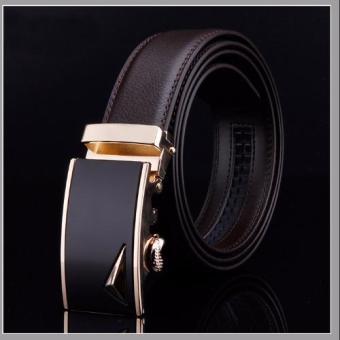 Dây nịt nam thời trang DN77 (Dây nâu cà phê mặt đen)