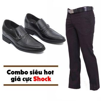 Bộ Giày Da Nam Smartmen H-18 + Quần Âu Nam Phong Cách Qb10