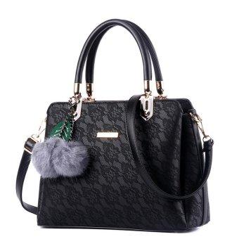 LAN STORE Lady Girl Premium Female Tote Bags PU Leather Women Handbags (Black) - intl