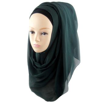 Women Muslim Chiffon Soft Head Neck Wrap Cover Hat Long Shawl Hijab Scarf Dark Green (Intl)