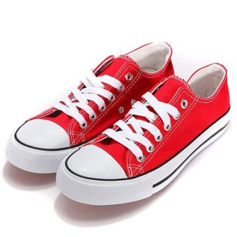 Mens Classic Canvas Lace Up Athletic Low Help Sneaker Casual Flat Plimsoll Shoes - intl