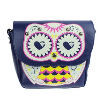 Fashion Owl Printed Pattern Diagonal Package Shoulder Bag Mini Packet Blue - Intl