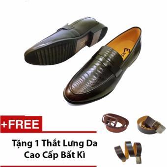 Giày Lười Nam Ensado Hq06 (Đen) + Tặng 1 Thắt Lưng Da Cao Cấp