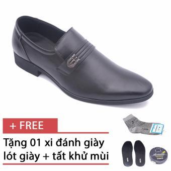 Giày da nam công sở lịch lãm Smartmen GL-0027 (Đen), tặng kèm 1 hộp xi, lót giày và tất khử mùi cao cấp.