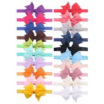 20 PCS Newborn Baby Girl Solid Color Big Bowknot Elastic Headband Hairband Photo Photography Props Hair Band - intl