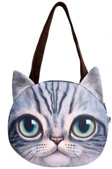 Cyber Finejo Fashion Women Cat Head Print Shoulder Bag Tote Clutch Handbag Purse(Gray) - intl