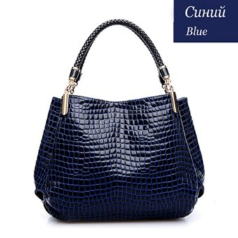 2017 Alligator Leather Women Handbag Fashion Famous Brands Shoulder Bag Black Bag Ladies Femininas Sac (Blue) - intl