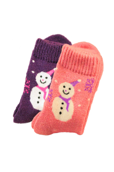 2 Pairs of Women Ladies Girls Mixed Colors Christmas Snowman Pattern Socks Winter Thick Warm Socks Random Color