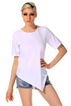 Cyber Summer Women O-Neck Short Sleeve Solid T-Shirt Casual Loose Irregular Hem T-Shirt Tops ( White ) - Intl