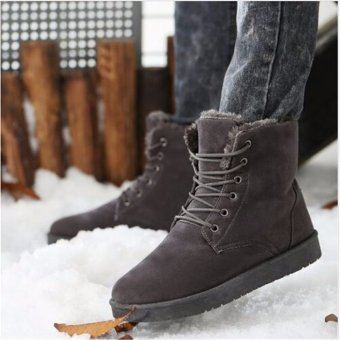 Fashion Men's Winter Warm Casual High Shoes Ankle Snow Boots Gray - intl
