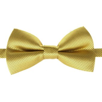 Fashion Men's Tuxedo Bowtie Solid Color Neckwear Adjustable Wedding Party Bow Tie Necktie Pre-Tied Golden - Intl