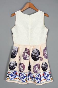 Sunweb Women Round Neck Sleeveless Print Pleated Short Mini Tank Dress Beige? - Intl
