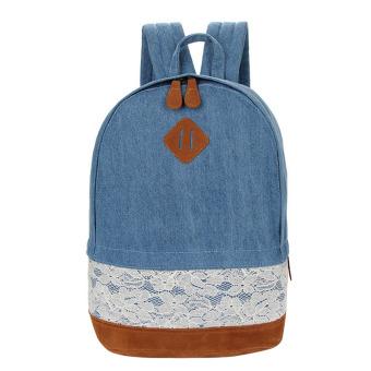 Girls Lace Canvas Travel Satchel Backpack (Dark Blue) - intl