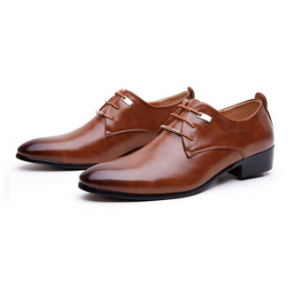 Men's Leather Pointed Toe Lace Up Wedding Formal Shoes Brown - Intl