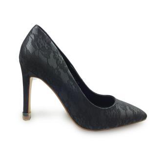 Giày bít nữ cao gót 9f vân hoa văn
