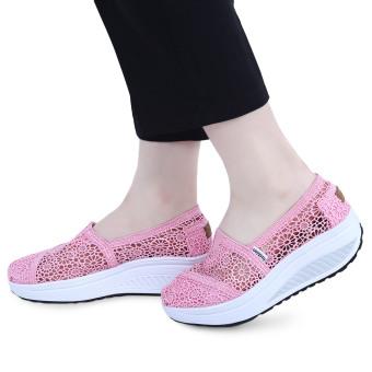 Lace Design Hollow Out Slip On Platform Shoes(Pink) - intl