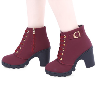 Stylish Pure Color Lace Up Zipper Decoration Ladies Thick High Heel Ankle Boots(Red) - intl