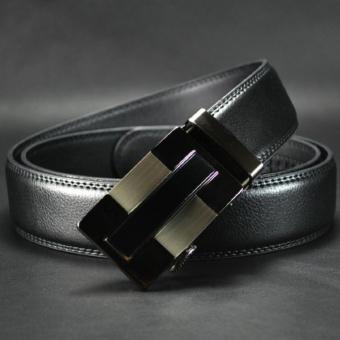 Thắt lưng nam da thật, mẫu mới, phong cách châu Âu (màu đen)