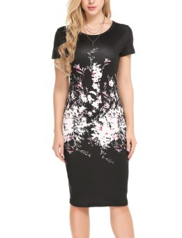 Cyber Women Casual O-Neck Short Sleeve Prints Pullover Package Hip Dress ( Black ) - intl