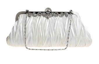 niceEshop Vintage Satin Envelope Cocktail Evening Bag Party Handbag Creamy-white - Intl