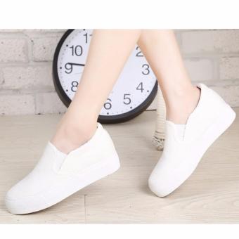 Giày slip on nữ màu trắng đế tăng chiều cao 5cm GL81