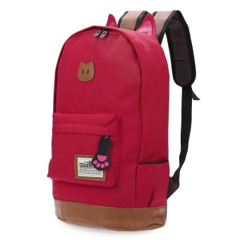Preppy Style Portable School Backpack Zipper Buckle Girl(Red) - intl
