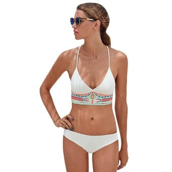 Sunweb New Sexy Women Summer Swimwear Bandage Bikini Set Push-up Padded Bra Swimsuit Bathing Suit ( White ) - intl