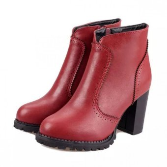 Women Thick High Heel Martins Ankle Boots Fashion Ladies Shoes - intl