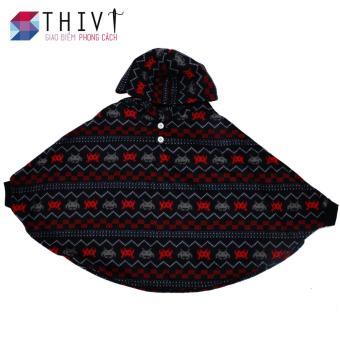 Áo Choàng Có Tay Cho Bé - Đen hoa văn đỏ - THIVI