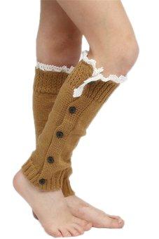 Lalang Kneepad Legs Stockings Khaki - intl