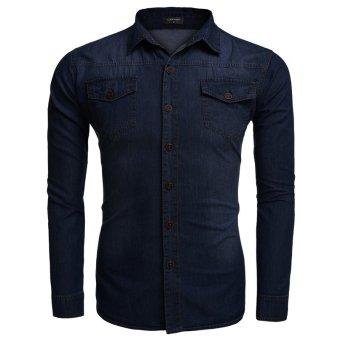 Cyber COOFANDY Men Fashion Cotton Turn Down Collar Long Sleeve Slim Plus Sizes Button Down Casual Shirts (Dark Blue) - Intl