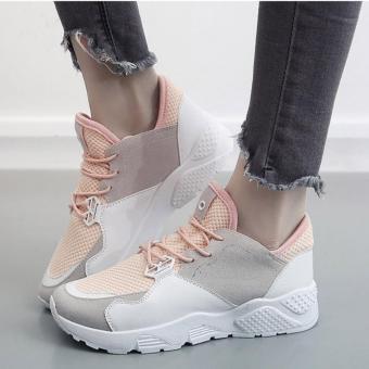Giày Sneaker Vải Đan Phối Thêm Lớp Da Mềm Mịn - Msp 2933 ( TRẮNG KEM)