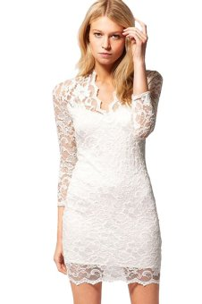 Cyber Stylish Lady Women's Casual Low-cut V-Neck 3/4 Sleeve Lace Package Hip Mini Dress ( White ) - intl