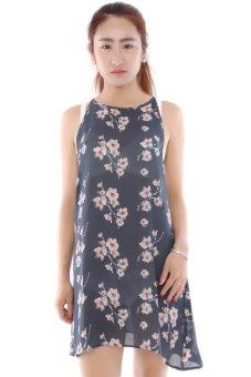 Lalang Chiffon Dress Backless Floral Print Short Sundress (Navy Blue)