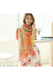 Moonar Women Fashion Flower Printed Scarf shawl (Orange)