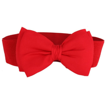 Women Ladies Bowknot Style Snap Button Adjustable Belts Elastic Cinch Waist Belt Strap for Women Red - intl