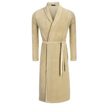 Cyber Avidlove Fashion Men's Robe Kimono Collar Bathrobe Long Sleepwear (Coffee) - Intl