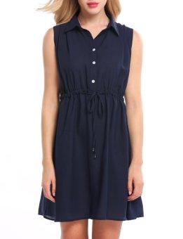 Linemart Women Casual Sleeveless Solid Button-down Collar Loose Mini Dress ( Navy Blue ) - intl