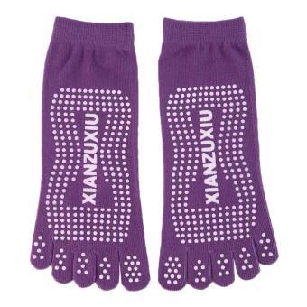 OH Women Five-toe Yoga Gym Dance Sport Exercise Non-Slip Massage Fitness Socks Purple - intl