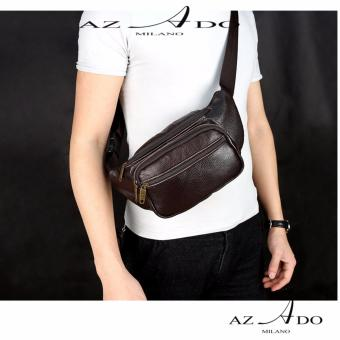 Túi đen chéo đeo bụng da bò thật TV128, thời trang Azado ( nâu)