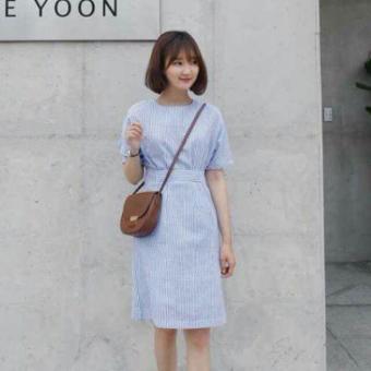 Đầm sọc kẻ trắng xanh