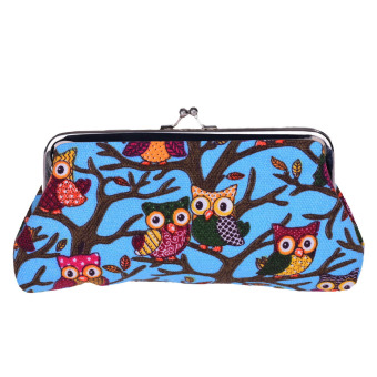 Women Owl Canvas Small Hasp Coin Purse Wallet Clutch Bag Blue