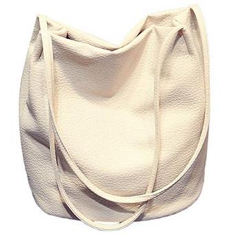 Women Casual Long Handle PU Leather Shopper Shoulder Tote Bucket Bag Handbag for Shopping Holiday Travel Beige White - intl