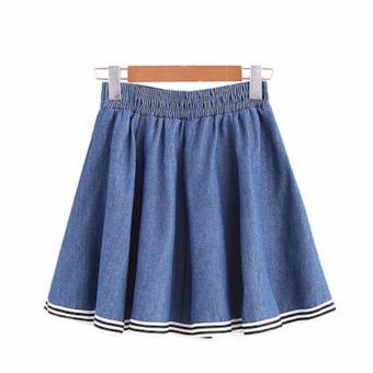 Chân váy ngắn nữ jeans dáng xoè xếp li kiểu sọc LTTA139