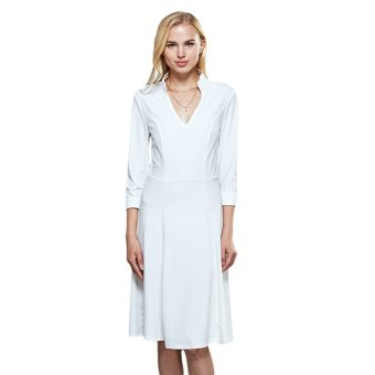 Women Polyester Stand Collar Straight Dress (White) - intl