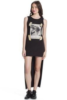 Đầm maxi in hình Maryling Blomor BW14839 (Đen)