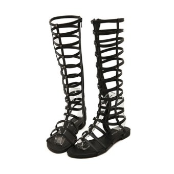 Women Strappy Knee High Boots Open Toe Gladiator Zipper Closure Flat Sandals - Intl
