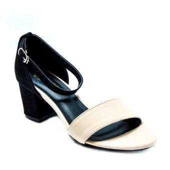 Giày xăng đan gót vuông phối 2 da Mozy MZSD015 (Đen)