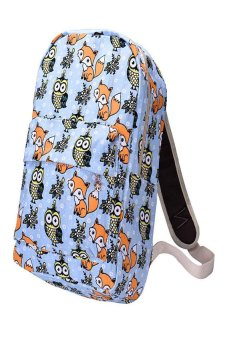HKS Canvas Owl Rucksack Backpack School Book Blue - intl